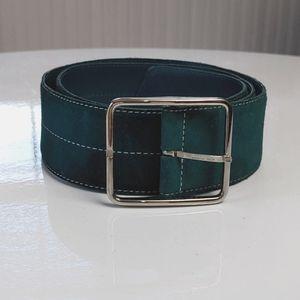 Longchamp Copy Teal Leather Suede Belt